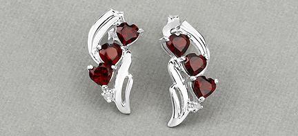 bef55b94d 2.12CTW Genuine Garnet & Diamond .925 Sterling Silver Earrings