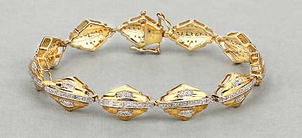 f285adcda 1.07CTW Genuine White Diamond 14K Yellow Gold Plated .925 Sterling Silver  Bracelet